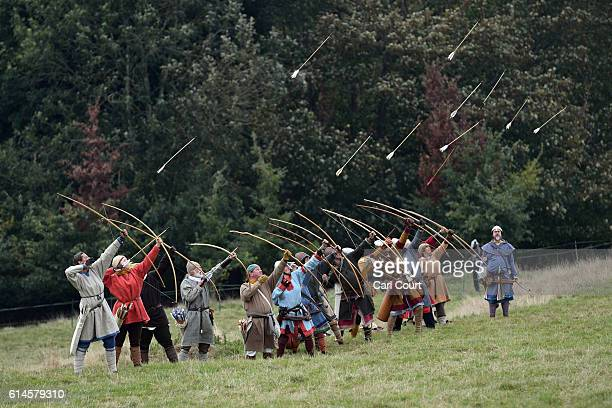 Historical reenactors practice their archery ahead of a reenactment of the Battle of Hastings on October 14 2016 in Battle England Reenactors have...
