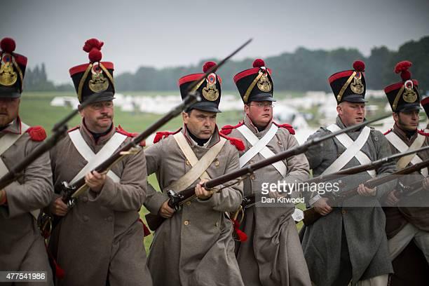 Historical reenactors take part in a practice drill in the French Bivouac camp on June 18 2015 in Waterloo Belgium Around 5000 historical reenactors...