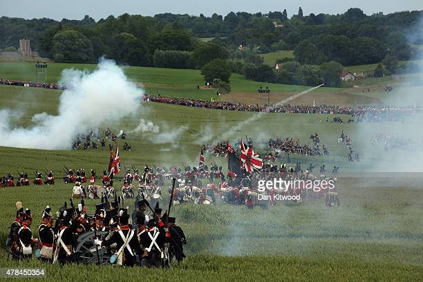 Historical re-enactors take part in the first part of a large scale re-enactment of the battle of Waterloo, to mark it's bicentenary on June 19, 2015...