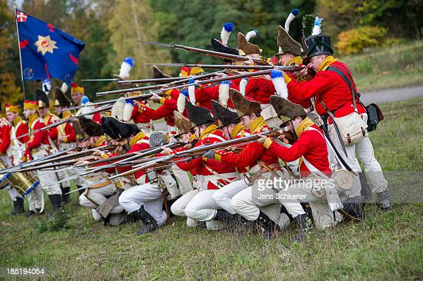 Historical society enthusiasts from Norway in the role of Saxon grenadiers prepare to commemorate the 200th anniversary of The Battle of Nations on...