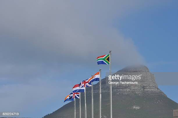 historical south african flags - south african flag stock photos and pictures