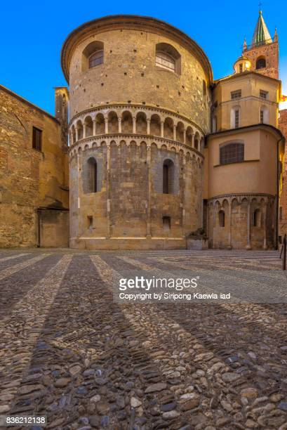 Historical Square of Lion behind the Cathedral of San Michele in Albenga, Italy.