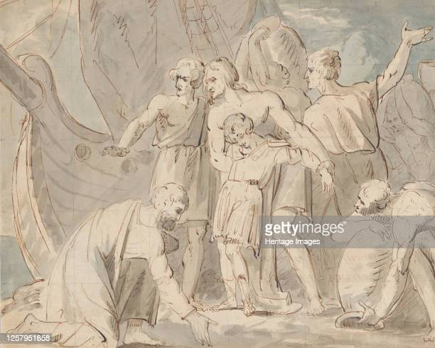 Historical Subject with Men and a Boy Near a Ship Anatomical Study of a Foot 177080 Artist William Hamilton