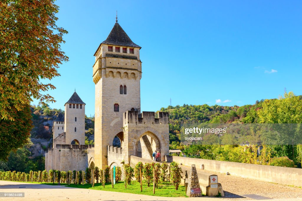 Historical Valentre Bridge of Cahors, France : Stock Photo