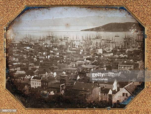 Historical view of San Francisco harbor halfplate daguerreotype 1851 Thought to be by the daguerrian photographer Sterling C McIntyre