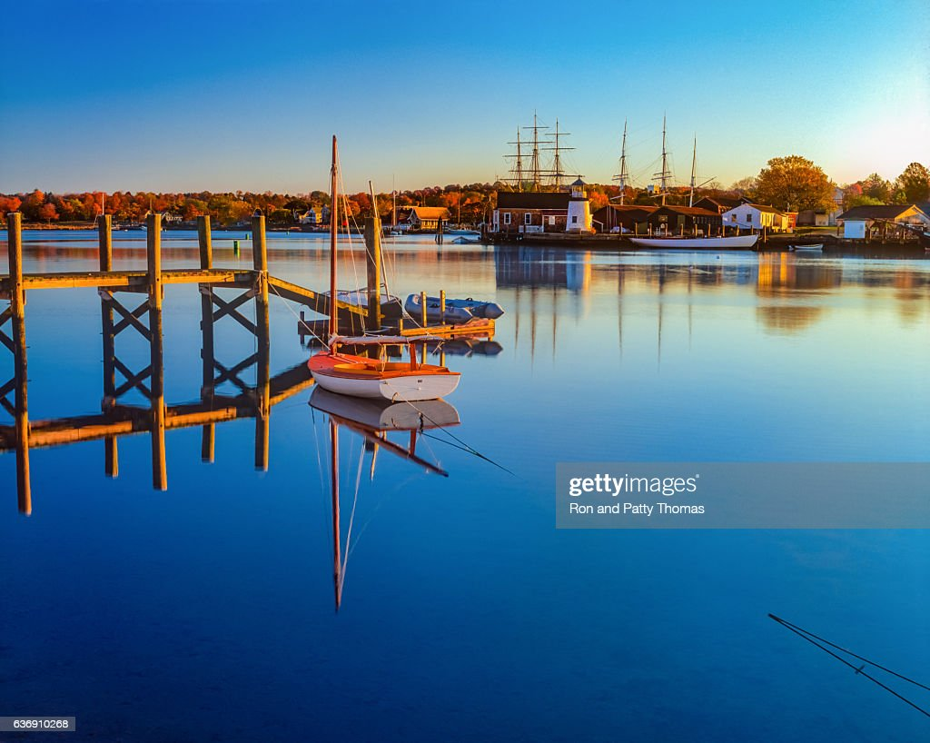 Historical whaling village Mystic Seaport Mystic CT(P) : Stock Photo