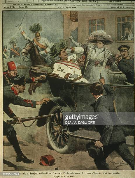 History 20th century Sarajevo assassination of Archduke Franz Ferdinand of Austria heir to the AustroHungarian throne Cover illustration from La...