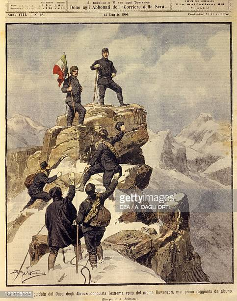 History 20th century The expedition led by the Duke of the Abruzzi reaches the top of Ruwenzori Cover illustration from La Domenica del Corriere...