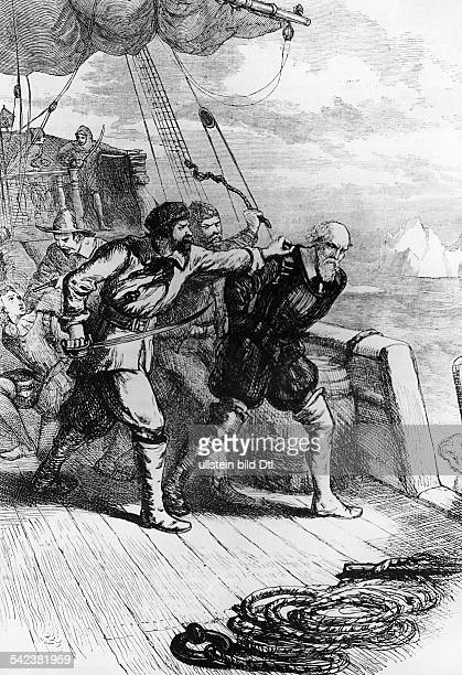 History america The english navigator Henry Hudson and his son abandoned by his crew after returning from the 'HudsonBay23061611Wood cut 19th cent