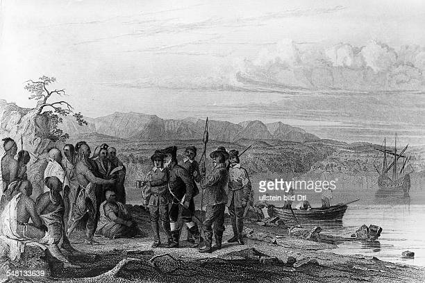 History america The english navigator Henry Hudson Navigating commissioned by the dutch VOC the nortamerican eastcoast at the 'Hudon' River meeting...