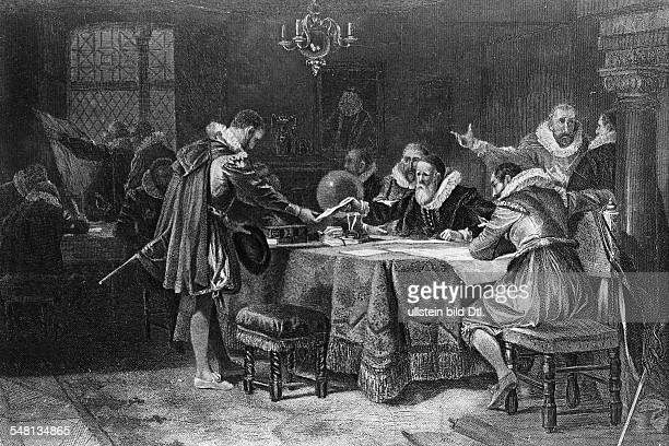 History america The english navigator Henry Hudson receiving his commission by the dutch eastindia company Amsterdam 1611 engraving after a painting