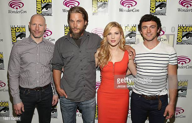 History Channel Executive Vice Presisdent of Programming Dirk Hoogstra actors Travis Fimmel Katheryn Winnick and George Blagden attend the 'Living...