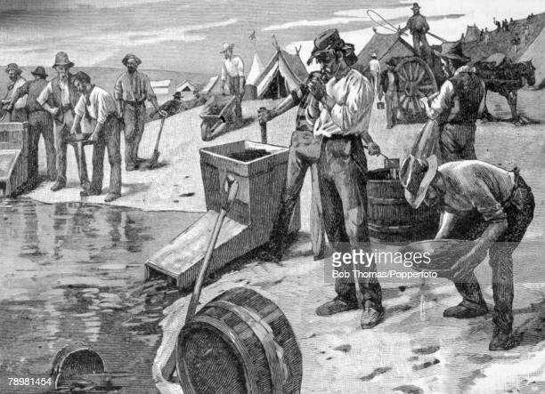 circa 1850's Cradling and panning for gold in an Australian mine The gold rush in Australia took off in earnest in 1851 after Edward Hargraves...