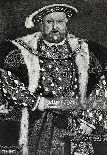 History Illustration English Royalty pic circa 1530's King Henry VIII who reigned 15091547 portrait Henry VIII was famous for his 6 wives and his...