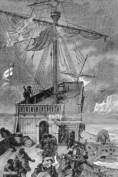 circa 1500 This illustration is entitled Cabot On The Shore Of Labrador John Cabot born in Italy is thought to have been the first to find...
