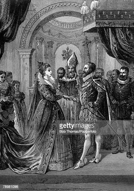 History Illustration, pic: 1600, This illustration shows Henry IV, the King of France being married to Maria de Medici