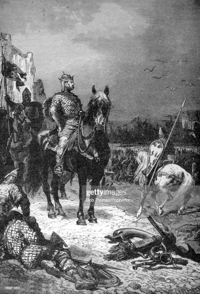 History Illustration. pic: circa 1066. This illustration is entitled The Landing Of The Conqueror, and shows Duke William of Normandy (King William I) on English soil when he won the Battle of Hastings against Harold's army. : News Photo