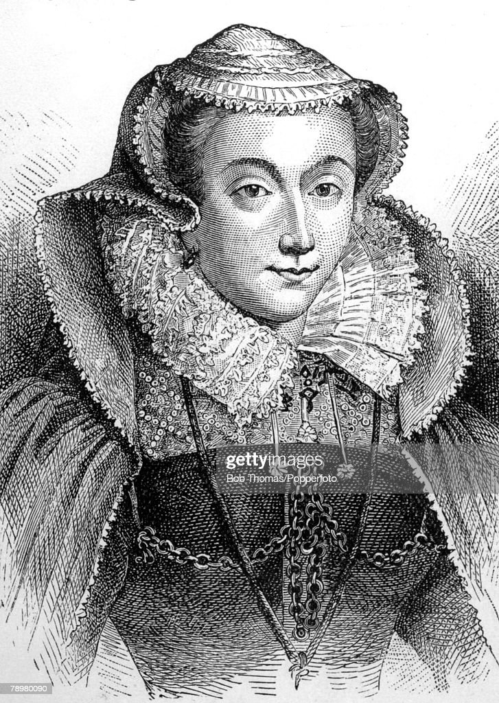 History Illustration. pic: circa 1580. This is an illustration of Mary Stewart, Mary Queen of Scots (1542-1587), who was executed at Fotheringay Castle, for plotting against Queen Elizabeth. : Nyhetsfoto
