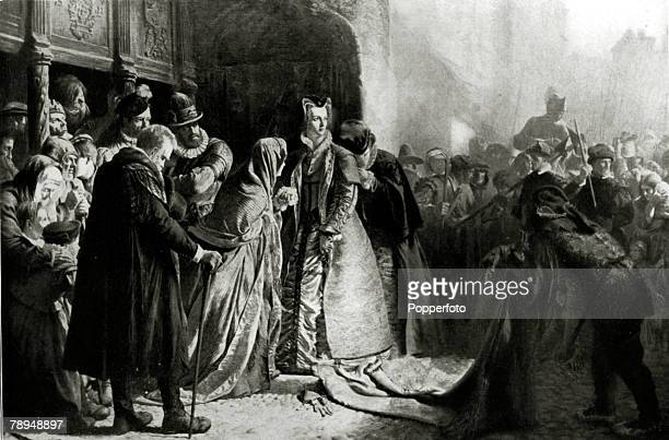 History Illustration Scottish Royalty pic circa 1567 Mary Stuart Mary Queen of Scots pictured being removed to Loch Leven Leading a tragic life Mary...