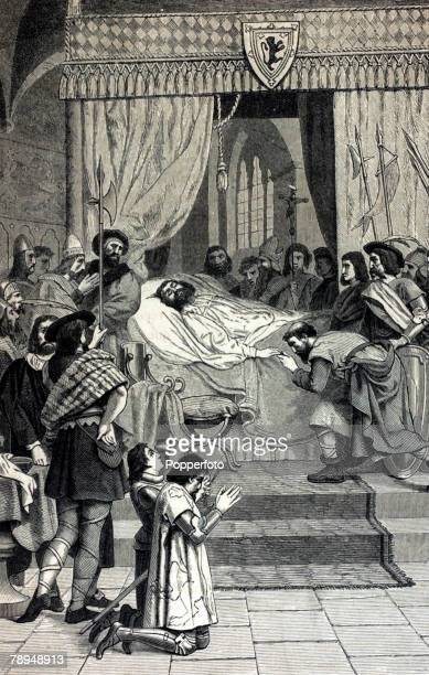 History Illustration Scottish Royalty pic1329 The death of King Robert the Bruce who reigned in Scotland from 1306 and defeated the English at the...