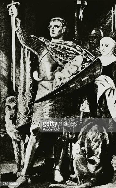History Illustrations English Royalty pic circa 1200This illustration shows King Richard I presenting his son Edward the first Prince of Wales to the...