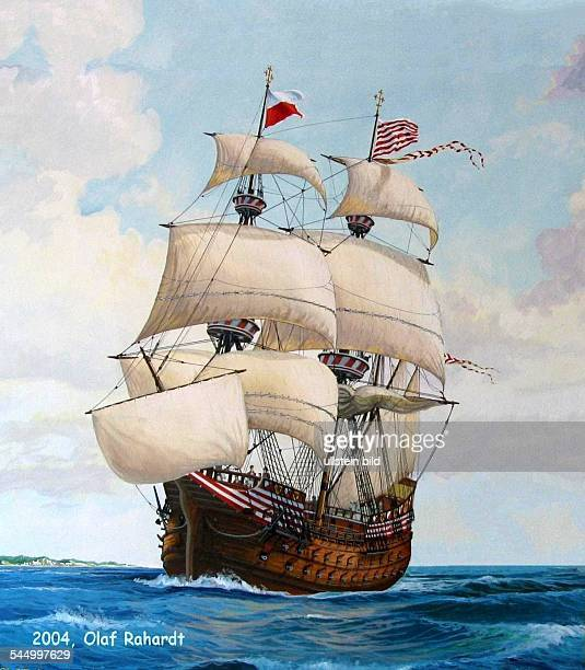 History Navigation / Hanseatic LeagueGalleon 'Adler von Luebeck' of the city of Luebeck Painting of Olaf Rahardt 2004