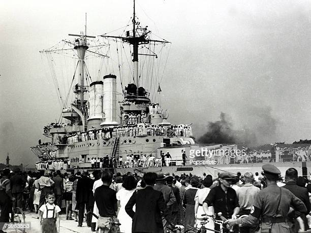 2nd September 1939 The German cruiser 'Schleswig Holstein' arrives in Danzig on the day before war was declared