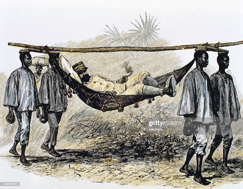 Africa. Colonialism. Colonizer carried in a hammock by four African  porters. : News