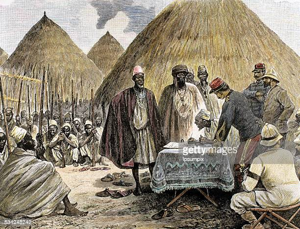 History of Africa. French colonialism. 19th century. Signing a treaty with the chief of the tribe Tamiso. Colored engraving.