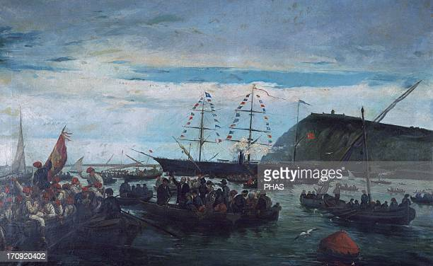 History of Cuba Ten Years War or Great War The Embarkation of the Catalan Volunteers for the Cuban War in the Port of Barcelona 1870 Painting by...