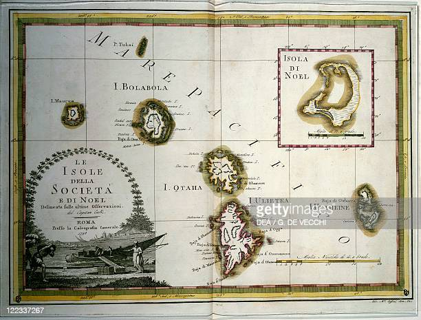 History of Exploration 18th century Polynesia the Society and Christmas Islands Engraving based upon the maps drawn by James Cook
