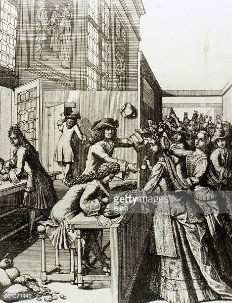 History of France 18th century Tributes to the King The people of France paying their taxes Engraving of the time