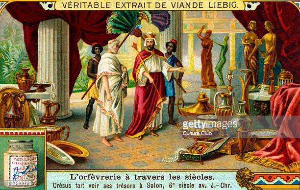 Croesus showing his treasures to Solon Liebig collectible card series 'Goldsmithery through the Ages' 1921 C king of Lydia from 560 to 547 BC