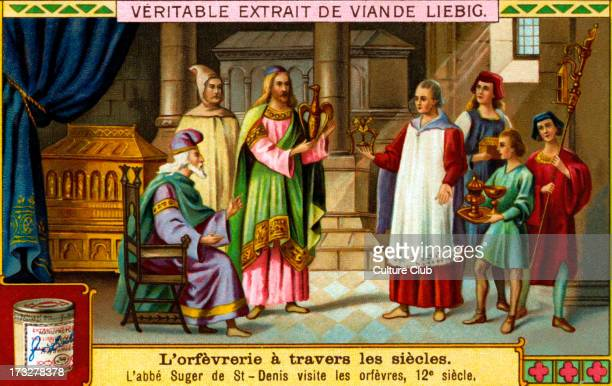 History of Goldsmithery: Suger de Saint-Denis visits goldsmiths, 12th century. Liebig collectible card series: 'Goldsmithery through the Ages' ....