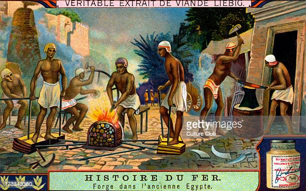 Forging iron in Ancient Egypt Liebig collectible card series 1914
