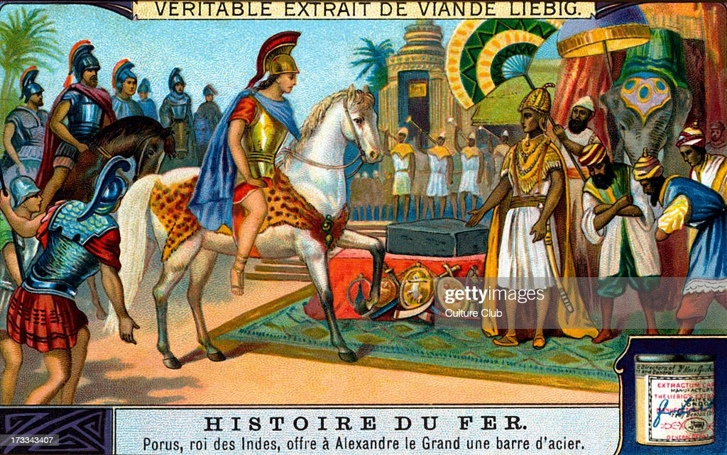 King Porus offering an iron bar to Alexander the Great P King of Paurava Reign 340–317 BC Liebig collectible card series 1914