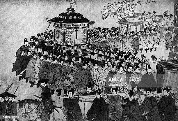 History of Japan Emperor Meiji entering Tokyo in the center is the throne 1868 Vintage property of ullstein bild