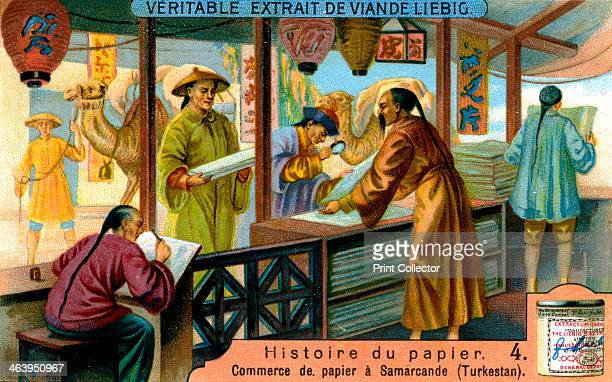 C1900. The paper trade at Samarkand . French advertisement for Liebig's extract of meat.