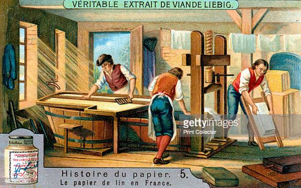 History of Paper c1900 Making flax paper in France French advertisement for Liebig's extract of meat