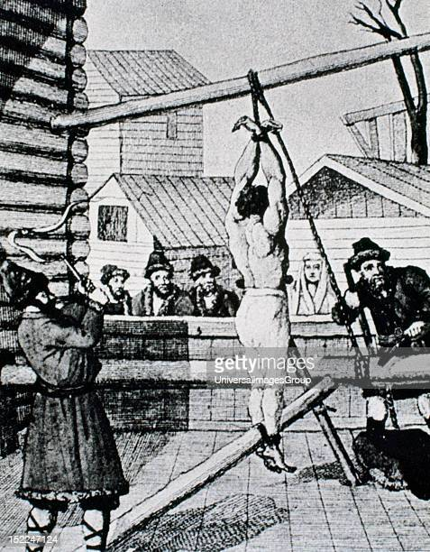 History of Russia Serfdom Punishment of a slave with a whip Engraving 18th century