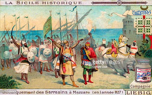 Arrival of Arabs in Mazara del Valloon 17 June 827 Followed by occupation of the town Illustration on Liebig collectible card 1913