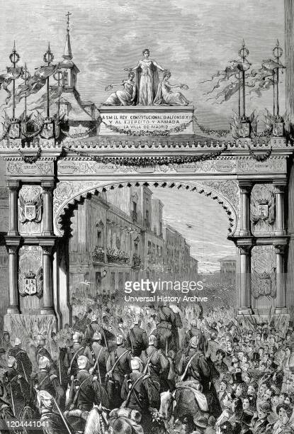 History of Spain. The Bourbon Restoration. Reign of Alfonso XII . Madrid. Triumphal arch erected at the expense of the City Council, next to The...
