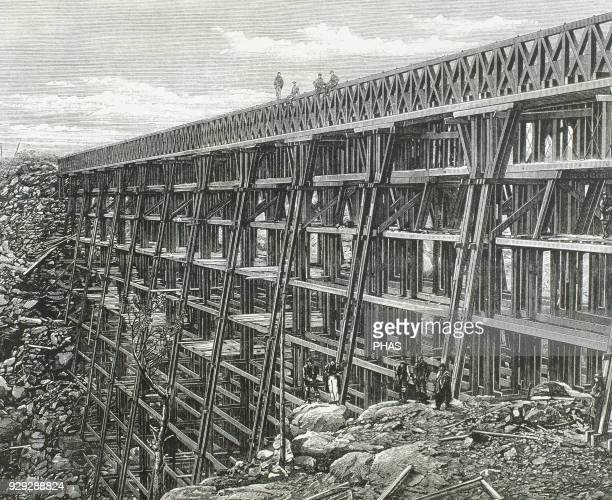 History of the American West 19th century Bridge of Dale Creek one of the major works of the Union Pacific Engraving in The Illustrated London News...