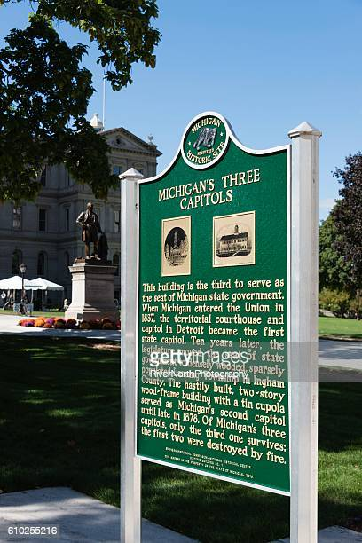 history of the capitol building, lansing michigan - capital cities stock photos and pictures