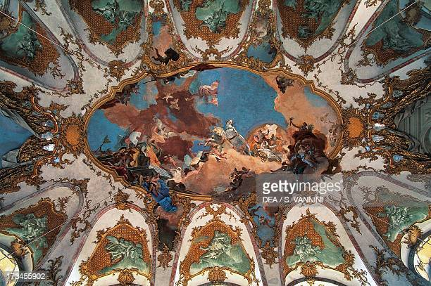History of the Diocese of Wurzburg fresco cycle by Giovanni Battista Tiepolo on the ceiling of the Emperor's Hall Wurzburg Residence Wurzburg Bavaria...