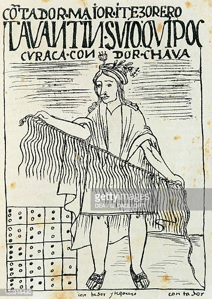 History of the Exploration 16th century South America Peru Inca man holding a quipu a device made of strings and knots used to count and record...