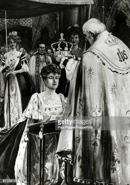 History Personalities, British Royalty, 22nd June 1911, The Coronation of King George V, Queen Mary receiving the Crown of Glory, Honour and Joy from...