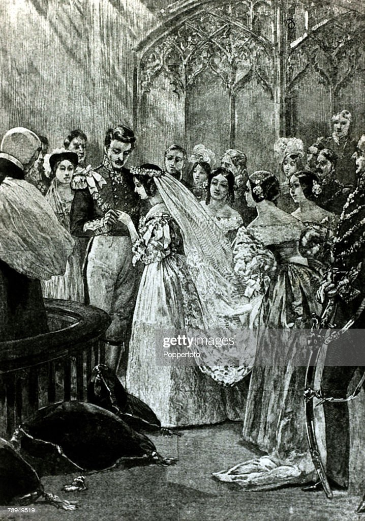 History Personalities. British Royalty. pic: 10th February 1840. Queen Victoria, with her husband Prince Albert, as they are married at St.James' Palace. Queen Victoria, (1819-1901) who reigned from 1837-1901, who during her reign saw Great Britain extend : News Photo