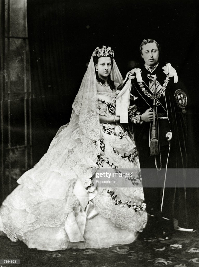 History Personalities. British Royalty. pic: 10th March 1863. Alexandra,Princess of Denmark, with her husband Edward, Prince of Wales after their wedding. Queen Alexandra, (1844-1925)in her early days a Danish Princess, later Queen Consort to King Edward  : News Photo