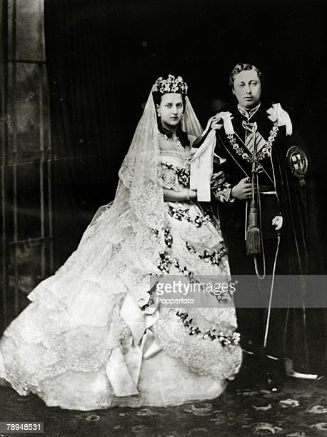 History Personalities British Royalty pic 10th March 1863 AlexandraPrincess of Denmark with her husband Edward Prince of Wales after their wedding...